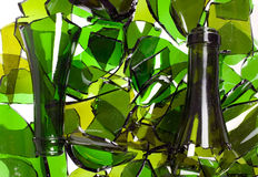 Composition of broken bottles royalty free stock images