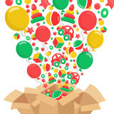 Composition with brown box and toys. Sale concept Stock Images