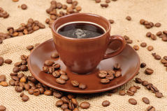 Composition with brown cup of coffee Royalty Free Stock Photography