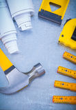 Composition of building tools on industrial Royalty Free Stock Photos