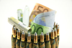 Composition with bullets and euros. Royalty Free Stock Image
