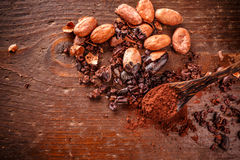 Composition of cacao nibs Royalty Free Stock Image