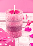 Composition with candle, gift box and hearts stock image