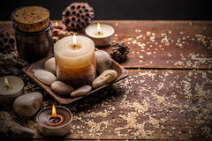 Composition with candles and stones Royalty Free Stock Images