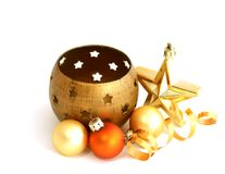 composition of candlestick and christmas balls is Royalty Free Stock Image