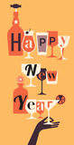 Composition with Champaign glasses. New year eve composition with Champaign glass and hand Royalty Free Stock Photo