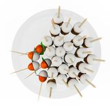 Composition of cherry tomatoes and mozzarella on skewers. Top view. Isolated on white background. 3D Rendering, 3D Illustration Stock Photo