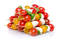 Composition of cherry tomatoes and mozzarella on skewers Royalty Free Stock Photo