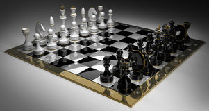 Composition with chess on chessboard Royalty Free Stock Photography