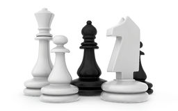 The composition of the chess pieces isolated on. White background Stock Photos