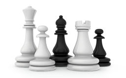 The composition of the chess pieces isolated on. White background Stock Images