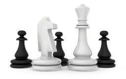 The composition of the chess pieces isolated on. White background Royalty Free Stock Images