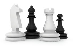 The composition of the chess pieces isolated on. White background Stock Photography