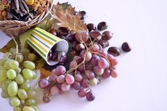 Autumn fruits, chestnuts and grapes. Composition with chestnuts and grapes, dried leaves, white background Stock Photos