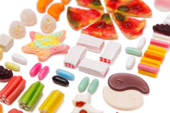 The composition of chewing candies Stock Photo