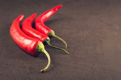 Composition of chili pepper/red hot Chile pepper on a dark stone background. Selective focus and copyspace royalty free stock photos