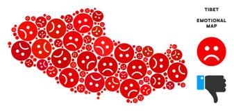 Composition chinoise pitoyable de carte de territoire du Thibet de vecteur d'Emojis triste illustration libre de droits