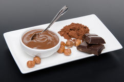 Composition of chocolate hazelnut spread, hazelnuts, chocolate a Stock Photos