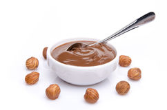 Composition of chocolate hazelnut spread with hazelnuts Royalty Free Stock Image