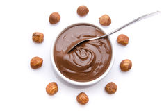 Composition of chocolate hazelnut spread with hazelnuts Stock Photo