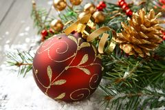 composition with christmas ball and decoration Stock Photos