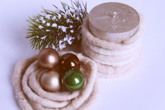 Composition of the Christmas balls ,candle and decorations. Composition of the Christmas balls and decorations  on white background, retro filter Royalty Free Stock Photography
