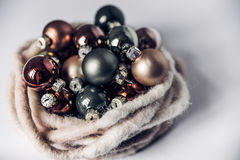 Composition of the Christmas balls and decorations isolated on w. Hite background, retro filter Royalty Free Stock Photos