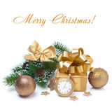 Composition with Christmas balls, gift and decoration, isolated Stock Photography