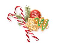 Composition with Christmas candy canes royalty free stock images