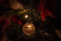 Composition of Christmas with decoration of Christmas tree in a atmosphere of Christmas stock photography