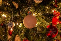 Composition of Christmas with decoration of Christmas tree in a atmosphere of Christmas royalty free stock photos