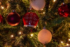 Composition of Christmas with decoration of Christmas tree in a atmosphere of Christmas stock photo