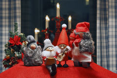 Composition of Christmas Figurines. Composition of seasonel Christmas Figurines with symbol background Royalty Free Stock Images
