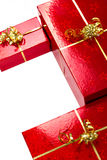 Composition of Christmas gift boxes Stock Photo
