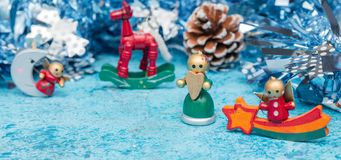 Composition Christmas holidays Christmas toys on a blue background with Christmas decorations. A bunch of Christmas toys and stock photos