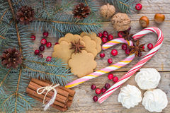 Composition for Christmas and New year - Spices, sweets and nuts Royalty Free Stock Images