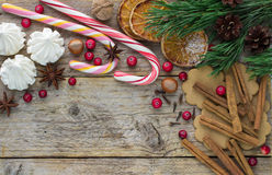 Composition for Christmas and New year - Spices, sweets and nuts Stock Images