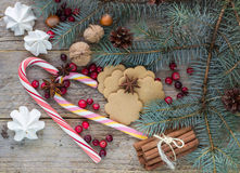Composition for Christmas and New year - Spices, sweets and nuts Stock Photo