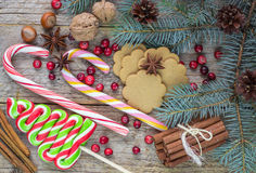 Composition for Christmas and New year - Spices, sweets and nuts Royalty Free Stock Photography