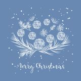Composition of Christmas pine cones. And twigs with text.Happy New Year Card royalty free illustration