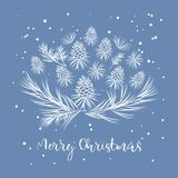 Composition of Christmas pine cones. And twigs with text.Happy New Year Card stock illustration