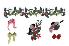 Composition of Christmas plants and bullfinches. Seamless Holly and ivy brush, composition of Christmas plants and Christmas tree toys, bullfinches, bows vector illustration