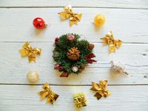 Composition of Christmas toys on a white background Stock Image