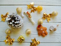 Composition of Christmas toys on a white background Stock Photos