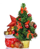 Composition with christmas tree bag toys and star Stock Photos