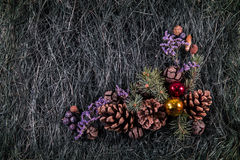 Composition with Christmas tree and Christmas decoration balls, Royalty Free Stock Photography