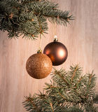Composition with Christmas tree and Christmas decoration balls, Stock Image