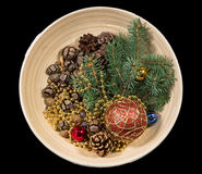 Composition with Christmas tree and Christmas decoration balls, Stock Photos