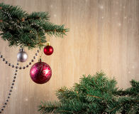 Composition with Christmas tree and Christmas decoration balls, Royalty Free Stock Photo