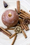 Composition with cinnamon. (candle and shells Stock Photos